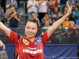 Wu Jiaduo jubelt bei der Tischtennis EM 2009 in Stuttgart