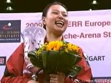 Wu Jiaduo, Europameisterin bei Siegerehrung bei der Tischtennis EM 2009 in Stuttgart