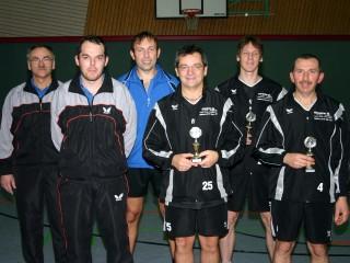 Die Endspielteilnehmer der Pokalendrunde der Herren in der Saison 2008/2009 in Haßfurt.