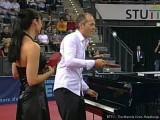 Tischtennis am Piano mit Joja Wendt und Dame bei der Tischtennis EM 2009 in Stuttgart