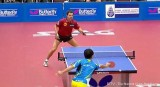 Ballwechsel Timo Boll und Wang Hao