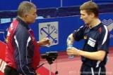 Werner Schlager mit Trainer bei den Tischtennis-Europameisterschaften in St. Petersburg